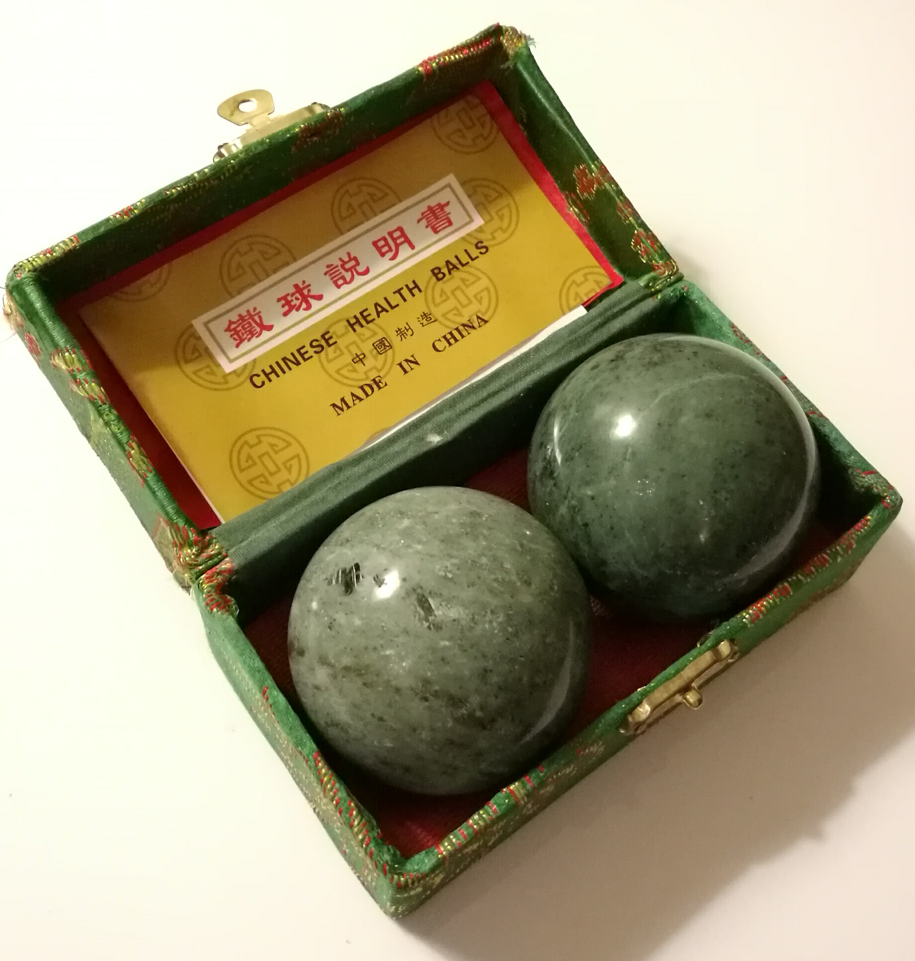 Green Marble Ball : Blackish jade green marble stone chinese healthy exercise