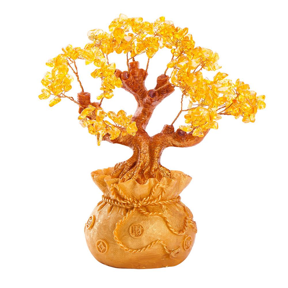 Stunning Feng Shui Citrine Gemstone Quartz Bonsai Money Tree