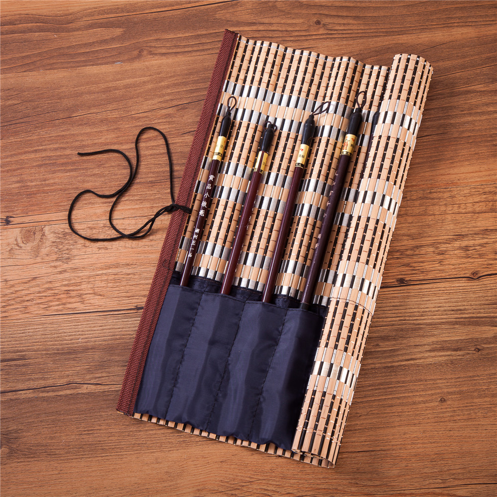 Bamboo Calligraphy Brush Holder Rollup Protection 8