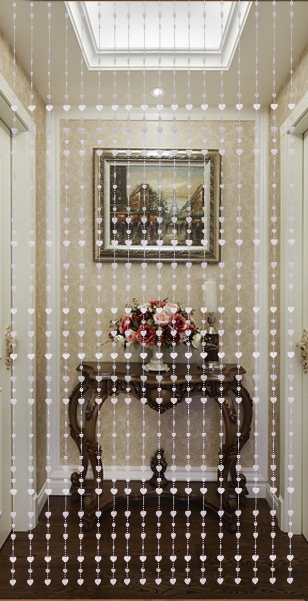 Beautiful Home Decor Acrylic Beaded Curtain Silver Heart