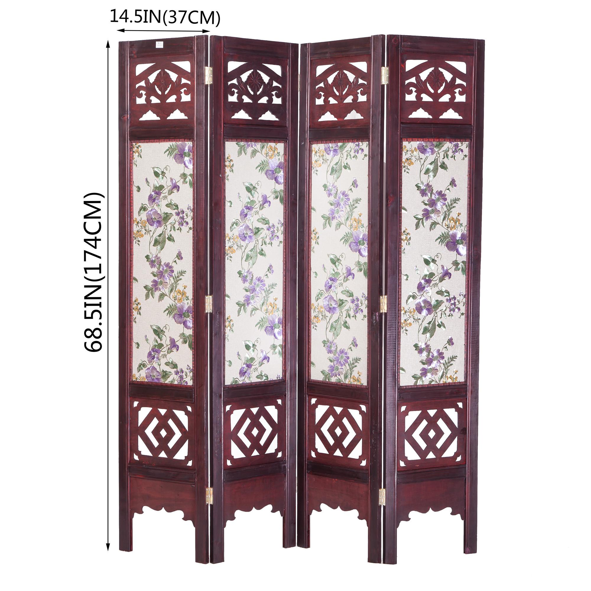 Vintage Oriental Style 4 Panels Screen Room Divider FUR1006