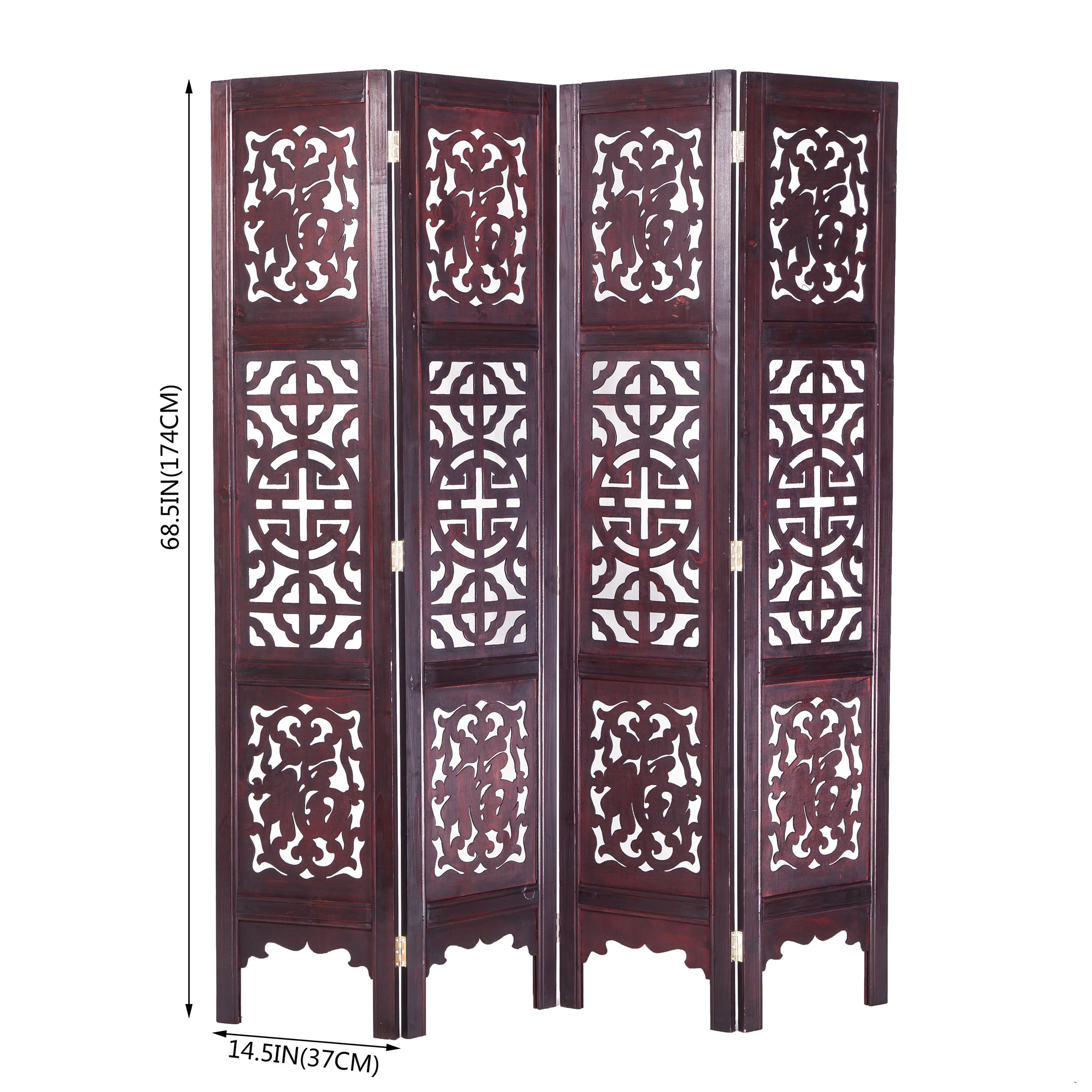 Asian Home Vintage Oriental Style 6 Panels Screen Room Divider