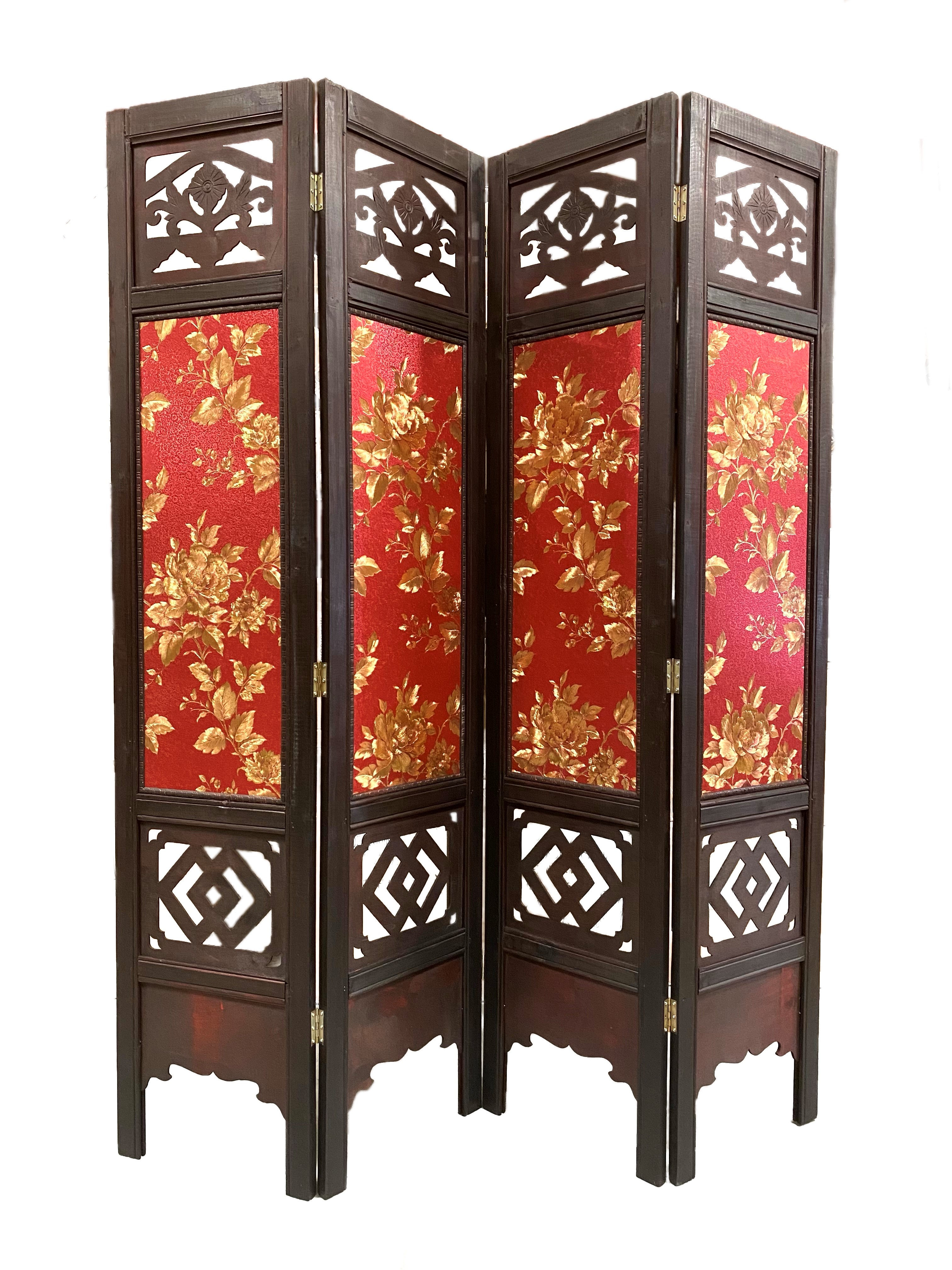 Vintage Oriental Style 4 Panels Screen Room Divider FUR9120