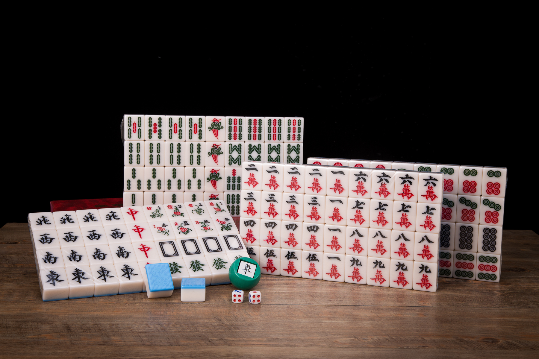 Traditional Chinese Mahjong Game Set 144 2 Spares Blue