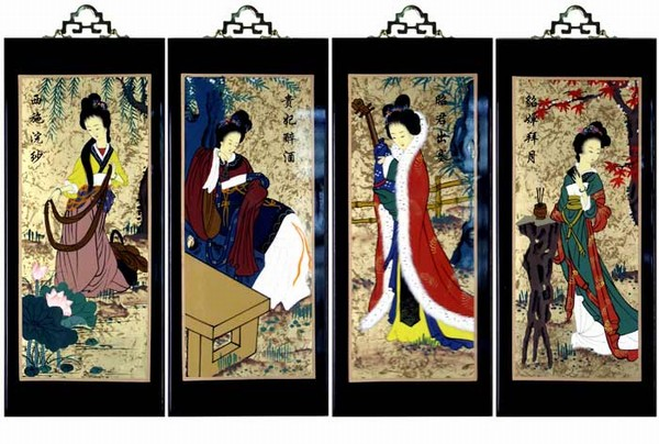 Set of 4 oriental lacquered painting wall art plaques four beauties