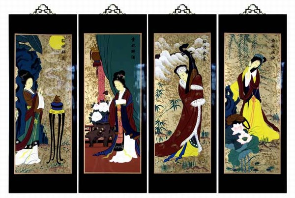 Oriental Wall Art set of 4 oriental lacquered painting wall art plaques (four