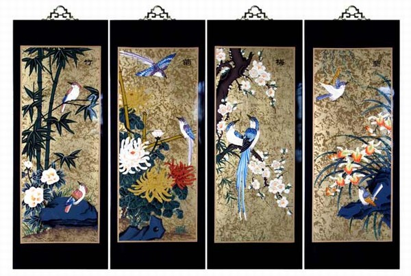 Set of 4 oriental lacquered painting wall art plaques for Asian wall decoration