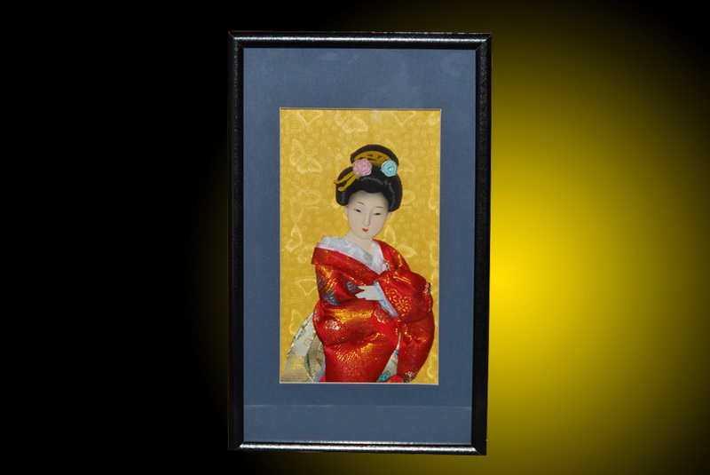 Wall picture frame w oriental japanese geisha doll