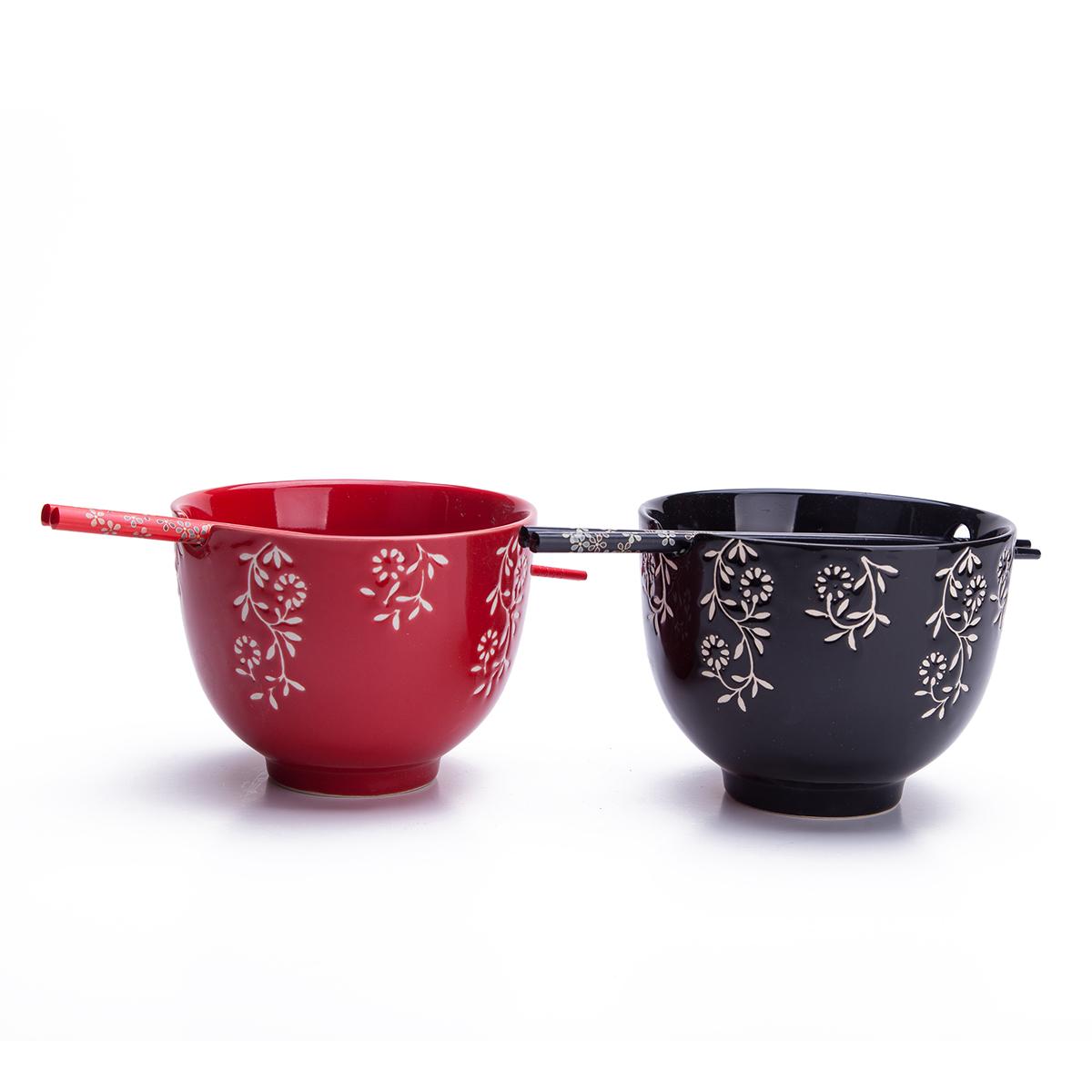 Zoom  sc 1 st  moriental.com & 2 Rice / Soup / Noodle Bowls u0026 2 Paris Of Chopsticks Dinnerware Set ...