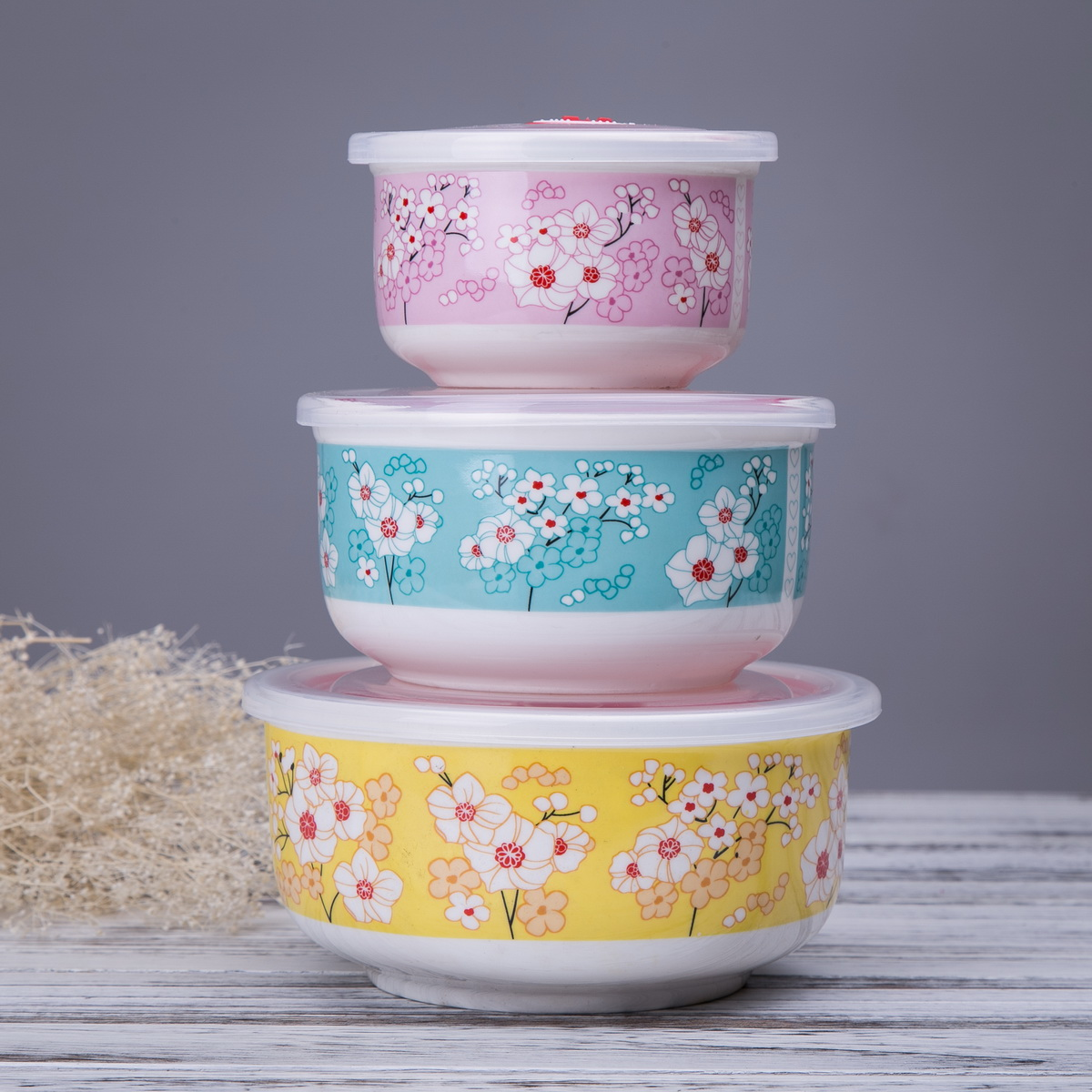 Set Of 3 Ceramic Lunch Bento Boxes Food Carrier Food