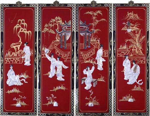 Asian oriental set of 4 wooden wall art hanging screens