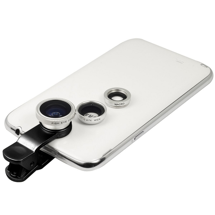 Silver Universal Cellphone Clip-on 180 degree 3 in 1 Fisheye+Wide Angle+. Zoom
