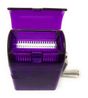 Spice and Herb Grinder with Turning Handle Pencil Sharpener Style Grinder with Pollen Catcher and Scraper, For All Grinding Purpose with Razor-sharp Teeth (Purple)