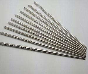 10 Pcs (5 Pairs) High Quality Spiral Design Silver Stainless Steel Chopsticks