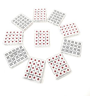 THY COLLECTIBLES 12mm White Dice with Black & Red Pips Dots for Board Games, Poker Card Games, Activity, Casino Theme, Party Favors (200 Pcs Pack)