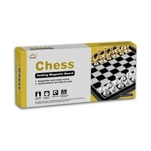Gold And Silver Magnetic Chess Set With Folding Board