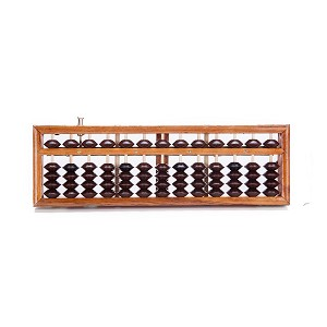 Vintage-Style 13 Rods Wooden Abacus Soroban Chinese Japanese Calculator Counting Tool w/ Reset Button 9.75""