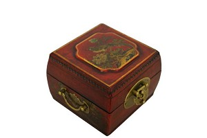 Vintage Chinese Jewelry Keepsake box W. Leather Surface