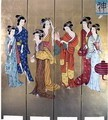Oriental Golden 4 Panels Screen Room Divider (Beauties)
