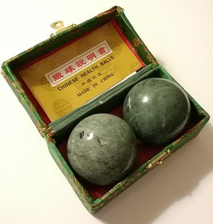 Blackish Jade Green Marble Stone Chinese Healthy Exercise Massage Baoding Balls