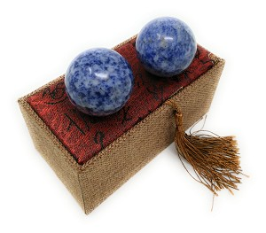 Blue Corundum Marble Stone Chinese Healthy Exercise Massage Baoding Balls