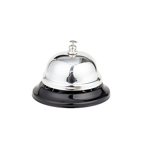 Call Bell, 3.35 Inch Diameter, Chrome Finish, All-Metal, Desk Bell Service Bell for Hotels, Schools, Restaurants, Reception Areas, Hospitals, Customer Service, Silver (2 Bells)
