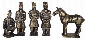 Set Of 5 Qin Dynasty Terracotta Warriors In Miniature LG Brass Color