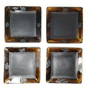 "TJ Global Set of 4 Japanese Pottery Square Ceramic Plates for Any Meal and Dish, Japanese Dinnerware and Tableware - 7"" x 7"""