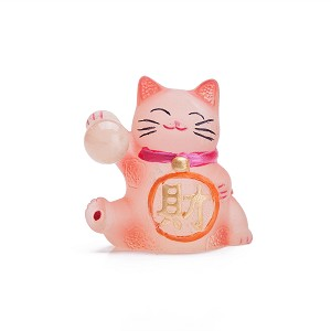 Dull Polish Hand Painted Feng Shui Mini Maneki Neko Lucky Cat Pink - Cai (Wealth)