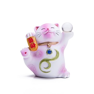 "Hand Painted Feng Shui Mini Maneki Neko Lucky Cat Pink ""Jin Cai"" (Be Wealthy)"