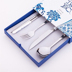4 Pcs Elegant Oriental Inspiration Silverware Stainless Steel Chopsticks, Fork, Knife & Spoon Set In Gift Box