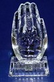 Crystal Glass Art Guan Yin Buddha Figurine W. Flashing Light B