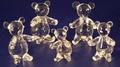 Crystal Glass Art Set Of 5 Panda Bears Figurines In Gift Box