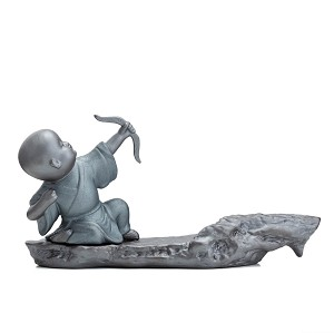 TJ Global Ceramic Monk with Bow and Arrow Incense Burner for Incense Stick and Cone Holder, Ash Catcher Tray