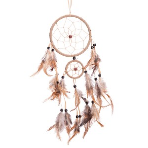 "18"" Long Traditional Beige Dream Catcher with Feathers Wall or Car Hanging Ornament 2 Circles"