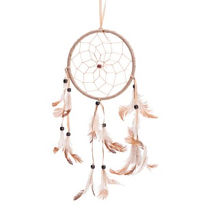 "15"" Traditional Beige Dream Catcher with Feathers Wall or Car Hanging Ornament Single Circle"