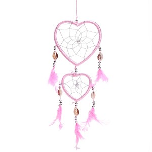 "17"" Traditional Pink Dream Catcher with Feathers Wall or Car Hanging Ornament Heart Shaped"