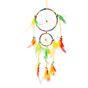 "18"" Traditional Rainbow Dream Catcher with Feathers Wall or Car Hanging Ornament Double Circles"