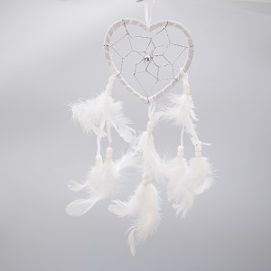 "19"" Traditional White Dream Catcher with Feathers Wall or Car Hanging Ornament Heart"