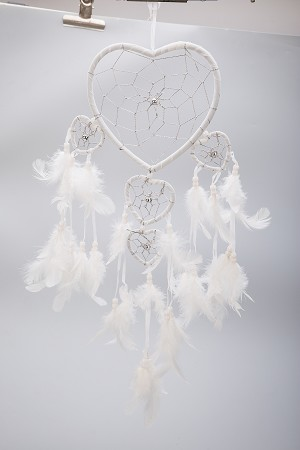 "19"" Traditional White Dream Catcher with Feathers Wall or Car Hanging Ornament Five Hearts"