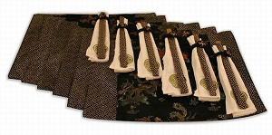 Beautiful Set Of Six Chopsticks & Silk Placemats DIN001