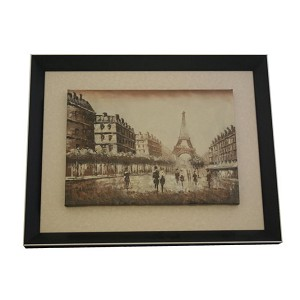 Wooden Framed Eiffel Tower Oil Painting Art F3173