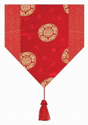 Gorgeous Oriental Brocade Table Runner CHINESE FORTUNE SYMBOL (RED)