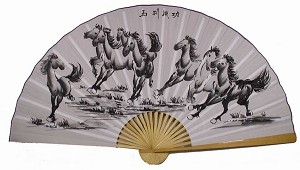 "Classic 35"" Oriental Feng Shui Wall Fan-Eight Horses"