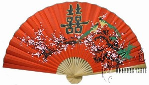 "Classic 35"" Oriental Feng Shui Wall Fan-He (Happyness)"