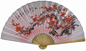 "35"" Oriental Feng Shui Wall Fan--Flower FAN022"