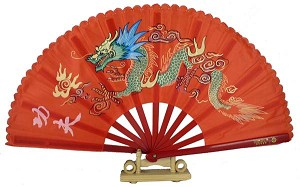 "13"" Dragon Design Kong Fu Fan Red"