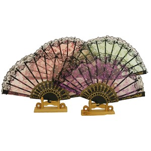 Assortment of one dozen (12) Oriental Feng Shui Hand Fan- Sequin