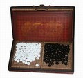 Collectible Chinese Antique Style Go Game Set W. Leather Case