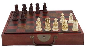 Collectible Chinese Antique Style Chess Game Set W. Leather Case